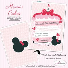 Minnie Mouse Inspired: Minnie Cakes Deluxe Invitation by I Will Invitations.  Features a real bow embellishment