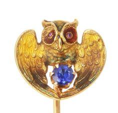 Antique Art Nouveau 14k Gold Sapphire Enamel Owl Stick Pin 12916150