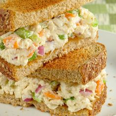 This chicken salad sandwich is made from scratch. You cook the chicken first in a tasty marinade, let it cool overnight, then assemble these tasty sandwiches.  The recipe makes 10 sandwiches, so great for a larger group.. Best  Chicken Salad Sandwich Recipe from Grandmothers Kitchen.