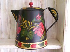 Vintage Coffee Pot / Pitcher Hand Painted Primitive Toleware Metal Tin NR   eBay