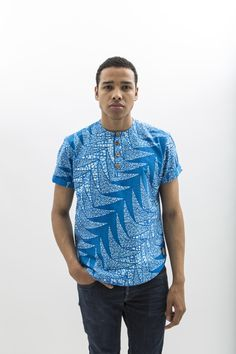 Fajara African Wax Print T-shirt for Men by JEKKAH - find them now on… African Print Shirt, African Print Dresses, African Dress, African Attire, African Wear, African Print Fashion, Fashion Prints, Ghana Style, African Shirts For Men