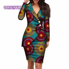 african dress styles 2019 Autumn African Dresses For Women Fashion Office Style V Neck Long Sleeve Midi Dress Bazin Riche African Print Clothing From Oc Short African Dresses, Latest African Fashion Dresses, African Print Dresses, African Dress Designs, Ankara Fashion, African Women Fashion, African Dress Styles, African American Fashion, African Print Skirt
