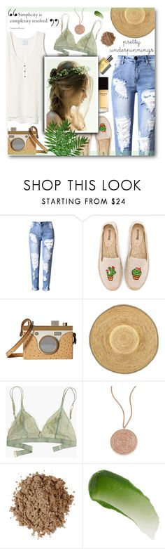"""Lace Accent"" by daizydarling ❤ liked on Polyvore featuring Soludos, Charlotte Olympia, Hat Attack, Madewell, Astley Clarke, Moon Juice, Lipstick Queen, lace and prettyunderpinnings"