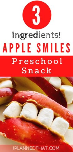 Looking for healthy preschool snack ideas? Try these fun, tasty apple smiles! Apple smiles are an easy preschool snack that can be made with 3 simple ingredients!  #applesmileswithpeanutbutter #applesmilesrecipe #applesmileshalloween #applesmilessnack #preschoolsnackideas #preschoolsnacksforclassroom #preschoolsnacksactivities #funpreschoolsnacks #preschoolsnackideashealthy #easypreschoolsnack #quickeasypreschoolsnacks #easypreschoolsnackshealthy #easypreschoolsnacksfall