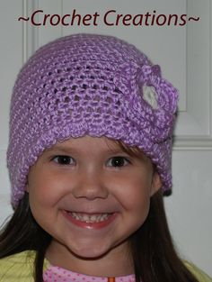 Crochet Creative Creations- Free Patterns and Instructions: Crochet Children's Hat with Flower