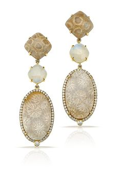 Fossilized Coral, Moonstone, and Diamond Earrings by Pamela Huizenga: Gold and Stone Earrings available at www.artfulhome.com