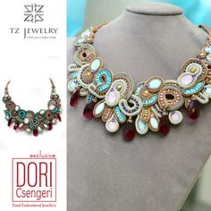 Narnia Statement Necklace with Swarovski crystals! #DoriCsengeri #soutache #exclusive #jewelry #TZjewelry #unique #necklace #Swarovski #crystals