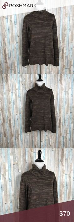 Peruvian Connection L Turtleneck Sweater Pullover You're looking at a beautiful brown variegated knit Paxton T-Neck sweater by Peruvian Connection.   Size Large   100% Pima Cotton   Great, gently pre-loved condition! Peruvian Connection Sweaters Cowl & Turtlenecks