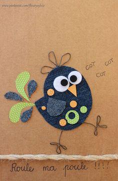 The collec '- toutpetitrien site! Wool Applique, Applique Patterns, Applique Designs, Jean Crafts, Denim Crafts, Paper Crafts, Art For Kids, Crafts For Kids, Arts And Crafts