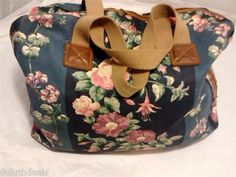 Laura Ashley Travel Bag, Duffel Bag, Carry On, Carry All, in Blue & Green