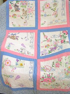 Lap Quilt from Vintage EmbroideryFree Shipping by QuiltAttic, $240.00