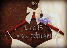TWO LINE HANGERS Personalized Bridal by whiskeynweddingbells, $21.99