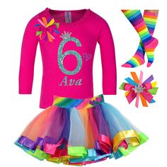 Hot Pink and Rainbow 6th Birthday Tutu Set! Celebrate your princess big day with this colorful combination to make her 6th birthday perfect. Add our rainbow tutu skirt, birthday hair bow, and rainbow socks to create a perfect combination. Lets celebrate her birthday or special event!