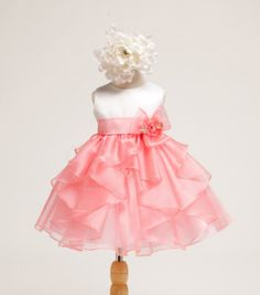 Girls White Satin Bodice with Coral Organza Overlayed Toddler Dress