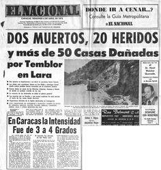 Dos muertos, 20 heridos y más de 50 casas dañadas por temblor en Lara. Publicado el 6 de abril de 1975