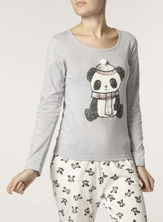 Grey Panda Pyjama Top