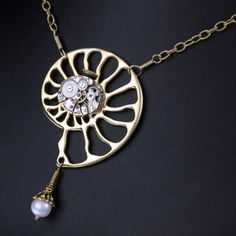 Time Shell   ---   Steampunk Vintage Repurposed Watch Movement Shell Necklace