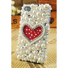 iPhone4S/4/3GS iPod Touch4G Pearl Heart Back Case