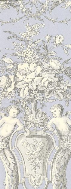 Cherub toile wallpaper - for the loo? Toile Wallpaper, Wallpaper Backgrounds, Wallpapers, Image Digital, Fabric Rug, Illustrations, Chinoiserie, Decoration, Design Art