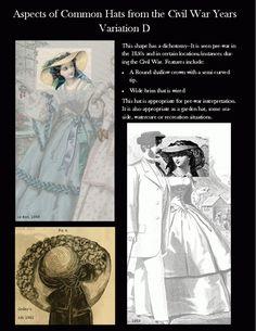 Civil War Ladies Hats Variation D