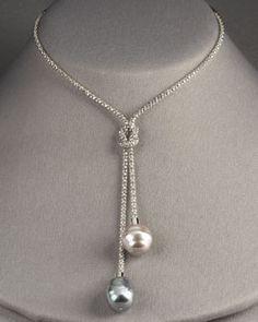 Y0A9F Majorica Pearl Lariat Necklace
