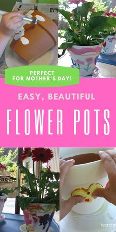 Kids can make beautiful and special gifts for loved ones by painting flower pots! Super simple but something that even the little ones can do! Diy Crafts To Do, Fun Crafts For Kids, Easy Crafts, Easy Diy, Simple Gifts, Cool Gifts, Holiday Crafts, Holiday Fun, Painted Flower Pots