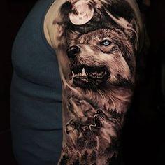 42 Ideas Two Wolf Tattoo Sleeve 2020 Wolf Tattoo Shoulder, Wolf Tattoo Forearm, Cool Forearm Tattoos, Body Art Tattoos, Cool Tattoos, Tattoo Ink, Wolf Pack Tattoo, Tatoos, Animal Sleeve Tattoo