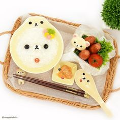 (87) Korilakkuma congee set | Japanese food | Pinterest