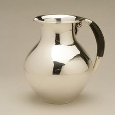 Georg Jensen Small Water Pitcher with Ebony Handle - Handmade Sterling Silver