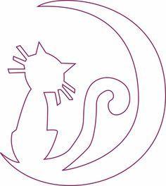 Sjabloon - Kat in halve maan dibujos brujas Moldes Halloween, Halloween Templates, Halloween Quilts, Halloween Crafts For Kids, Halloween Cat, Holidays Halloween, Vintage Halloween, Fall Crafts, Kirigami
