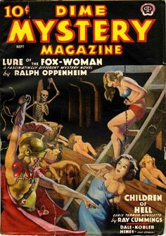 Dime Mystery Magazine - Lure of the Fox-Woman, Pulp Fiction Magazine Cover