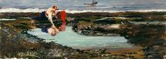 Frank Buchser - Fisher girl on the coast of Scarborough