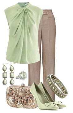 """""""Pistachio Pumps"""" by maggiesuedesigns ❤ liked on Polyvore featuring John Lewis, Accessorize, Bottega Veneta, Diane Von Furstenberg, Tacori, mint green, mary jane pumps, big bangles, cameo rings and brown"""