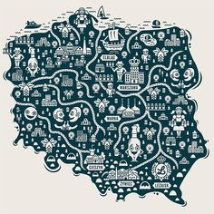 Collection of map illustrations by Jan Feliks Kallwejt in Colorful Map Illustration Designs