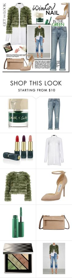 """In the Green: winter nail polish"" by fashionlibra84 ❤ liked on Polyvore featuring Smith & Cult, Current/Elliott, Oribe, Alice + Olivia, Jimmy Choo, MAC Cosmetics, Tumi and Burberry"