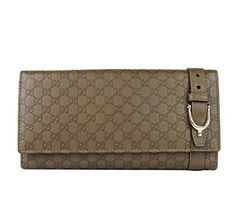 Gucci Women's Brown Spur Detail Guccissima Leather Continental Wallet Clutch Bag
