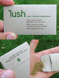 Functional Seed Packet Business Card For A Garden Maintenance Company