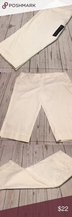 Brand New Capris New With Tag~  Crisp White, Modern Fit Capri Slacks~   Cotton/ Nylon/ Spandex Worthington Pants Capris