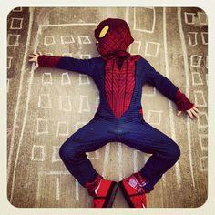 Sidewalk Chalk + Superhero Costume + Instagram = Viola ...Cool Spiderman Pic ;)