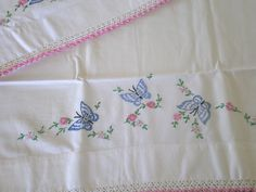 vintage pillowcase embroidery designs free | Vintage Embroidered Butterfly Cotton Pillow Cases in pillow cases