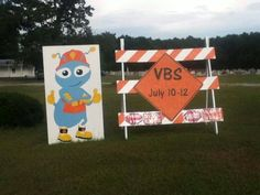 We started our VBS today and had these on both sides of the highway. Goshen Church in Rincon GA Great way to share the word about VBS and use ordinary items! www.cokesburyvbs.com