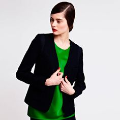One of the most on-trend and fetchingly attractive pieces in the collection, this beautifully constructed textured wool luxury jacket is bound to be a customer favourite. #Navy #Womenswear #AW13