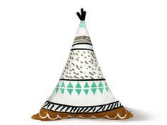TEEPEE PILLOW - decorative nursery pillow-tribal theme nursery-pajama pillow