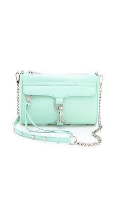 Rebecca Minkoff Mini MAC Bag in mint. I love her summer collection of purses for summer! Backpack Purse, Purse Wallet, Cute Purses, Cute Bags, Purses And Handbags, Mk Handbags, Fashion Bags, Fashion Handbags, Rebecca Minkoff