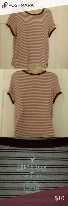 """Super soft tee Stripped tee soft and sexy  Pit to pit 19 1/2"""" flat Length  22"""", with cap sleeves  Crew neck with solid color on sleeve hem and collar  Pink and burgendy American Eagle Outfitters Tops Tees - Short Sleeve"""