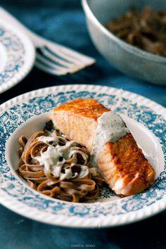 Truffle salmon pasta