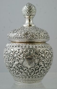 Unusually Shaped Indian Silver Spice Box