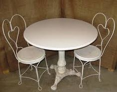 ice cream parlor table - Google Search Auction Items, Apartment Furniture, Porcelain Ceramics, Cabinet Doors, Glass Panels, Vintage Antiques, Dining Table, Shelves, Wood