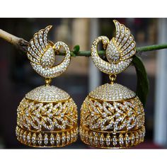 Real Look Peacock Diamond Jhumka Earrings Image Diamond Jumkas, Diamond Jewelry, Gold Jewellery, Jewellery Shops, Diamond Pendant, Diamond Rings, Silver Jewelry, Uncut Diamond, Temple Jewellery