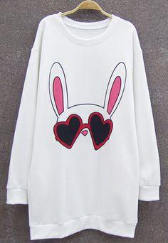 White Long Sleeve Rabbit Pattern Long Sweatshirt US$31.49